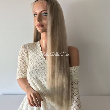 Rooted Natural Ash Blond full lace wig 24'