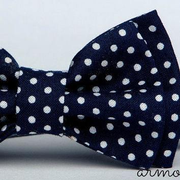 Navy Bow Tie - Polka Dot Bow Tie - Baby Bow Tie - Toddler Bow Tie - First Year Outfit