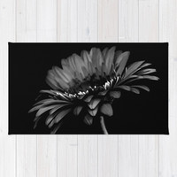 Daisy gerbera. Black and white Rug by vanessagf