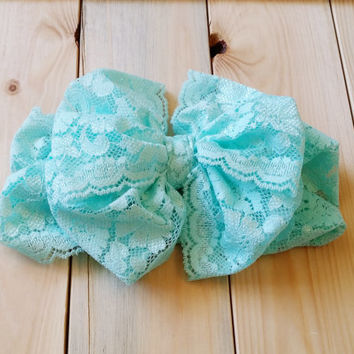 Lace Bow Headwrap - Mint Bow