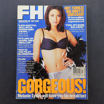 1990s Vintage / FHM Magazine / For Him Magazine / January 1998 / Melanie Sykes / British Mens Magazine / 90s Fashion / Eurostyle / Pirelli