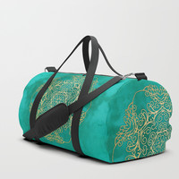 Turquoise & Gold Mandala Duffle Bag by Tanyadraws