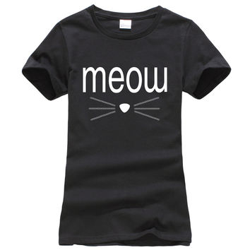 Kawaii meow whiskers funny tee shirt femme 2017 summer fashion harajuku women punk t shirt slim drake casual pink brand clothing