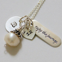 College Graduation NEcklace, Graduation Gift 2013, Poetry Necklace, Word Jewelry, Inspirational Enjoy the journey, Neice Graduation