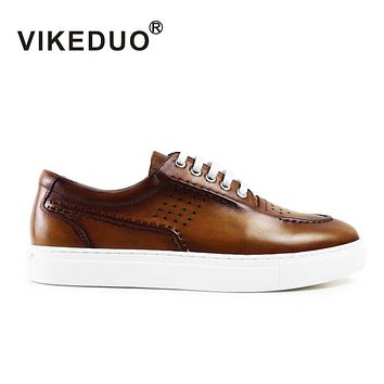 Handmade vintage male genuine Leather shoe Designer Luxury Fashion Leisure party wedding Brown Men's Casual Shoes