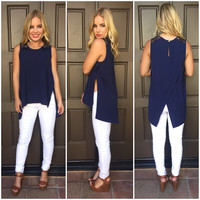 Split Decision Navy Blouse