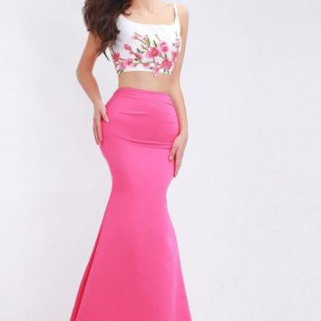 Two Piece Long Dresses Evening for Women Elegant with Appliques Sleeveless Floor-Length Mermaid Prom Party Gowns