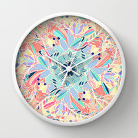 Paradise Doodle Wall Clock by Micklyn | Society6