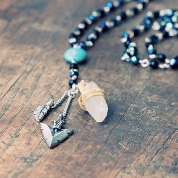 Arrowhead Rosary Necklace with Crystal - Artisan Jewelry
