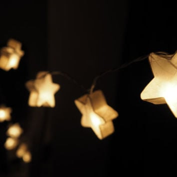 SALE Shining Stars Fairy String Light - 20 White Star Lights Fairy lights Party Decor Wedding Garden Spa and Holiday Lighting