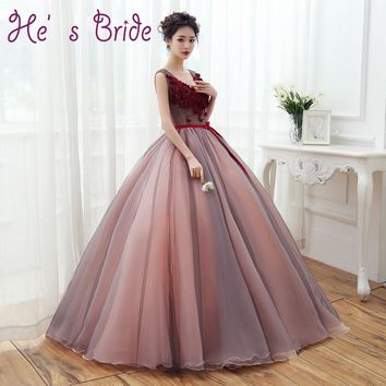 2017 New Arrival Light Brown V Neck Floor Length Ball Gown Lace Up Evevning Dress Sexy Modern Classic Prom Dress Robe De Soiree