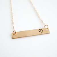 Rose Gold Bar Necklace Monogram Necklace Personalized Jewelry Gifts Initial necklace Engraved necklace Name plate necklace