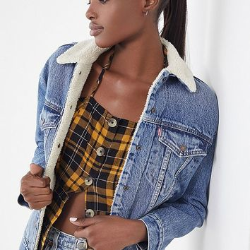 Levi's Denim Sherpa Trucker Jacket - Light Blue | Urban Outfitters