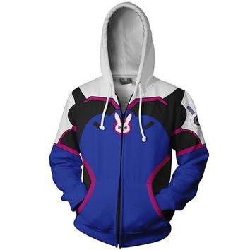 Overwatch DVA Cosplay Costume 3D Print Big Hoodie Sweatshirt Women Men Hood