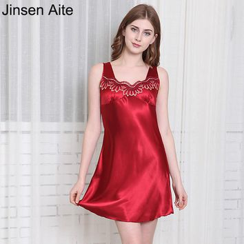 Jinsen Aite Plus Size 4XL Silk Women Sexy Nightgown Sleeveless Lace Sleepwear Summer Home Dress Sleepshirts Female Nightie JS113