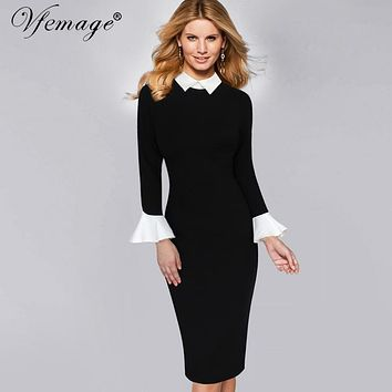 Vfemage Womens Winter Elegant Long Flare Bell Sleeve Lapel Contrast Wear to Work Business Party Pencil Bodycon Sheath Dress 8342