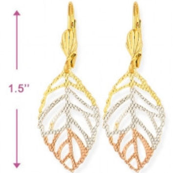 Small Leaf Gold Plated Earrings
