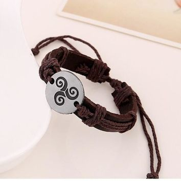 Triskele Bracelets Hemp Rope Adjustable Genuine Leather Strap Charm Bracelet