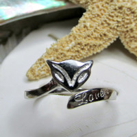 Sterling Silver Kitty Cat Wrap Ring Size 8