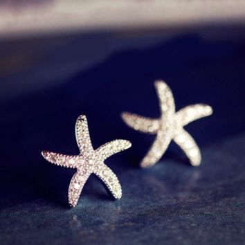 925 Silver Starfish Earrings