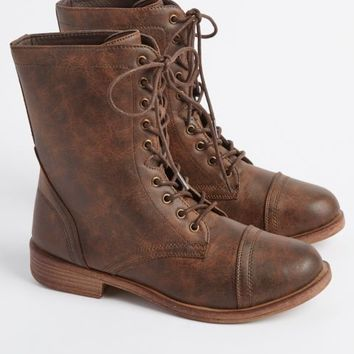 Brown Distressed Faux Leather Combat Boot