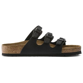 Birkenstock Florida Soft Footbed Nubuck Leather Jet Black 954511 Sandals - Ready Stock