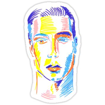 'Pop art face-color lines' Pegatina by Sinmigo