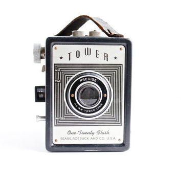 Vintage Tower Camera - One Twenty Flash Black Box Camera by Sears Roebuck & Co /  1940s Photography