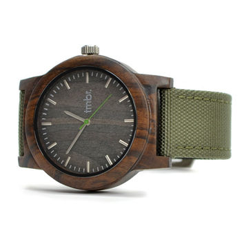 WOOD Watch, Made from Sandalwood and Military Canvas Strap - BRLY-C