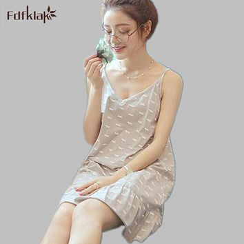 Women's Sexy V Neck cotton Nightgowns Summer Dress Women Sleepwear Sleepshirts Short Nightgown Ladies Nightdress Tracksuit E0393