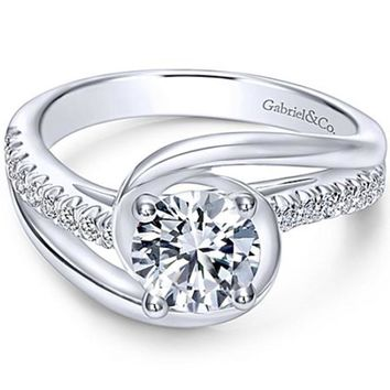 "Gabriel ""Lucca"" Bypass Halo Diamond Engagement Ring"