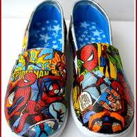 Made to Order Shoes, Spiderman Shoes, Custom Spiderman Shoes, Comic Book Shoes, Spiderman Shoes, Marvel Comic Shoes, Xmas Gifts for Boys