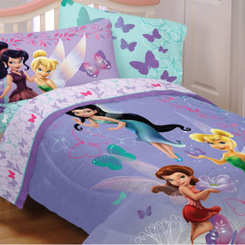 Disney Fairies Sparkling Butterflies 5pc Full Bedding Set