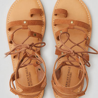 AEO Suede Toe Ring Sandal , Dark Tan