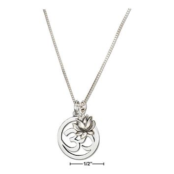 """Sterling Silver Necklace:  18"""" Om Or Ohm Symbol Necklace With Lotus Flower"""
