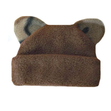 Baby Boy's Brown Fleece Hat with Camo Ears