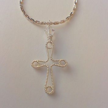 Wire twisted cross on silver plated chain, NOT inspired by Rihanna, Miley Cyrus, Kelly Ripa, Jennifer Aniston or other celebrities :)