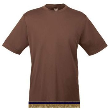Brown Workout Performance T-shirt With Fringes