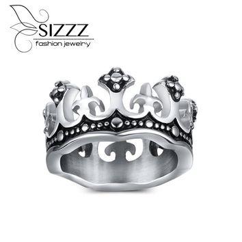 SIZZZ  Men's Rings Black Royal King Crown Knight Cross Vintage Rings for Men Jewelry