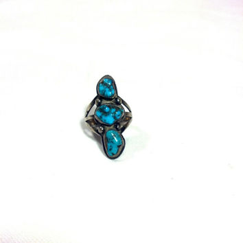 Old Pawn Turquoise Ring Size 5 - Vintage Silver and Turquoise 3 Stone Ring - Native American Style Southwest Design