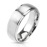 Steel In Love - Brushed silver stainless steel his and her dome ring with polished edges