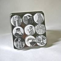Strong Ceramic Magnets featuring Men by Edward Gorey