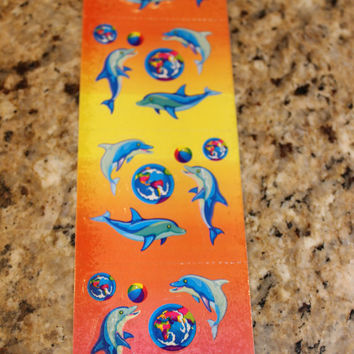 Vintage Lisa Frank Dolphins Sticker Strip S206