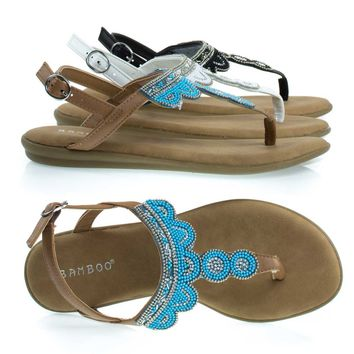 Tundra59 Tan / Blue By Bamboo, Comfortable Padded Flat Sandal w Tribal Inspired Beads & Rhinestone