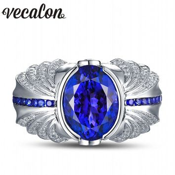 Vecalon Vintage Design Men fashion Jewelry wedding Band ring 5ct stone 5A Zircon cz 925 Sterling Silver Engagement Finger ring