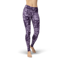 Ava Lace Purple Leggings