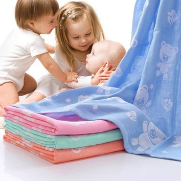 Infant,Child Cute Bath Towel 100% Cotton washcloth Muslin 43 inches x 43 inches squares.
