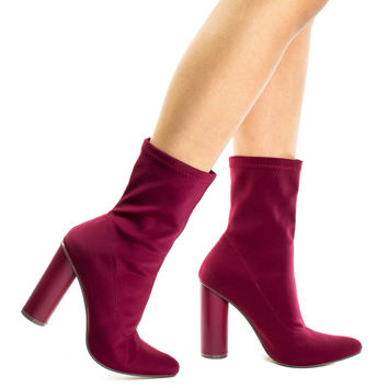 #Elssa1 Burgundy by X2B, Burgundy Pointed Toe Ankle booties W Stretchy Upper & Rounded Cylinder Block Heel
