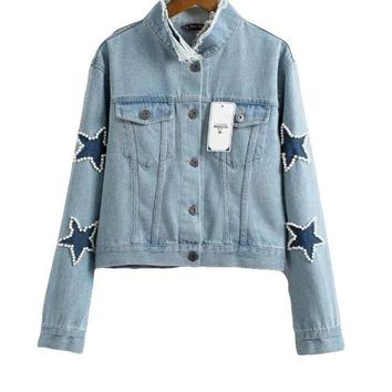 New Autumn Solid Appliques Long Sleeve Denim Jacket Fashion Casual Stand Singled Breasted Women Coats