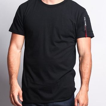 Flight MA-1 Long Length Curved Hem T-Shirt TS652 - N5